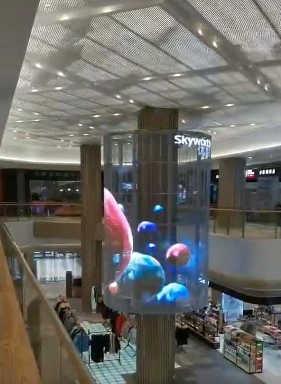 led格栅透明屏商场内部圆柱案例